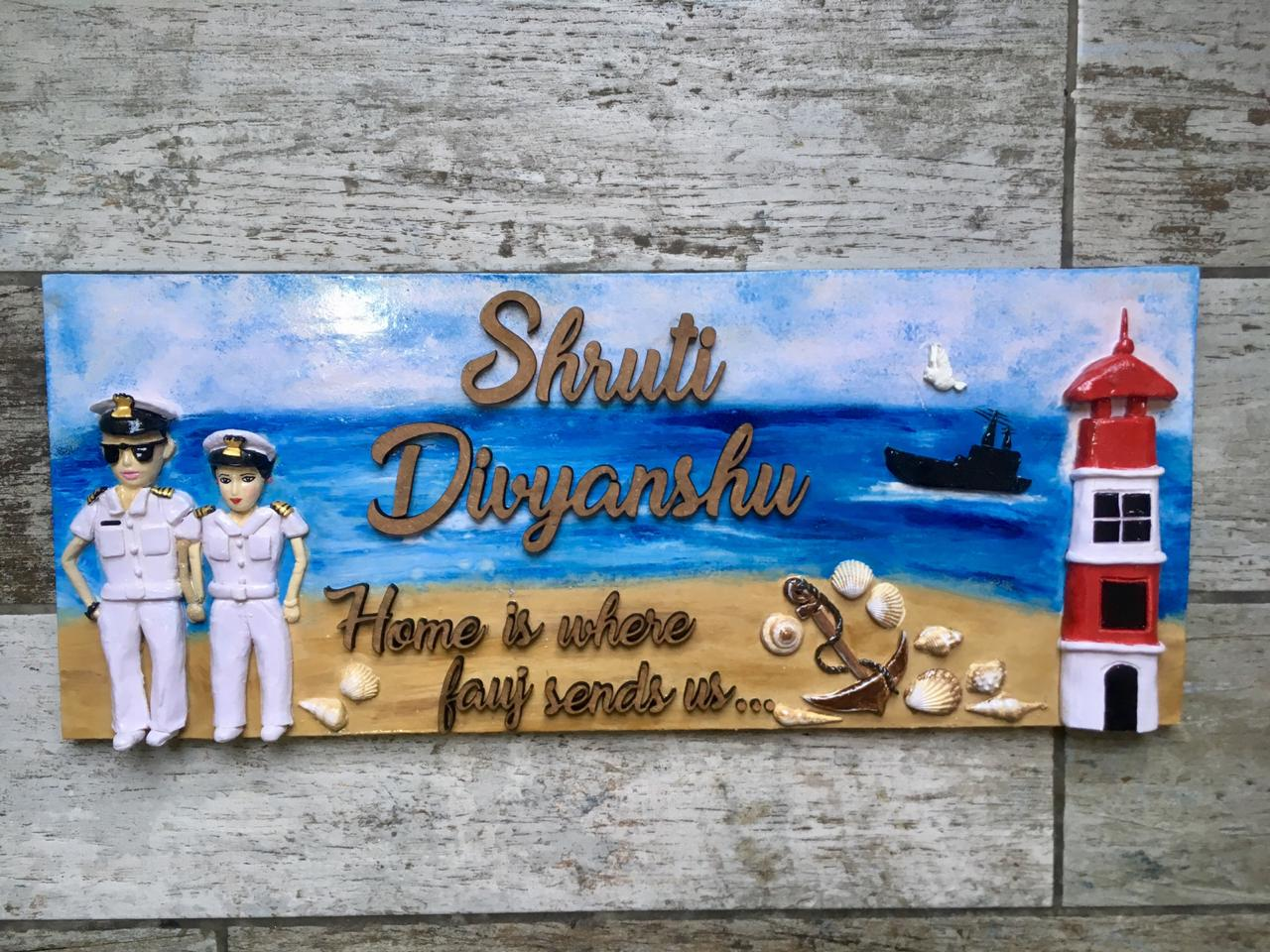 Indian Navy Name Plate for Brave Couples