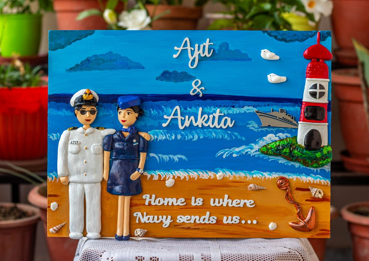 Indian Navy and Air Hostess Themed Nameplate  Indian Navy and Air hostess themed Nameplate