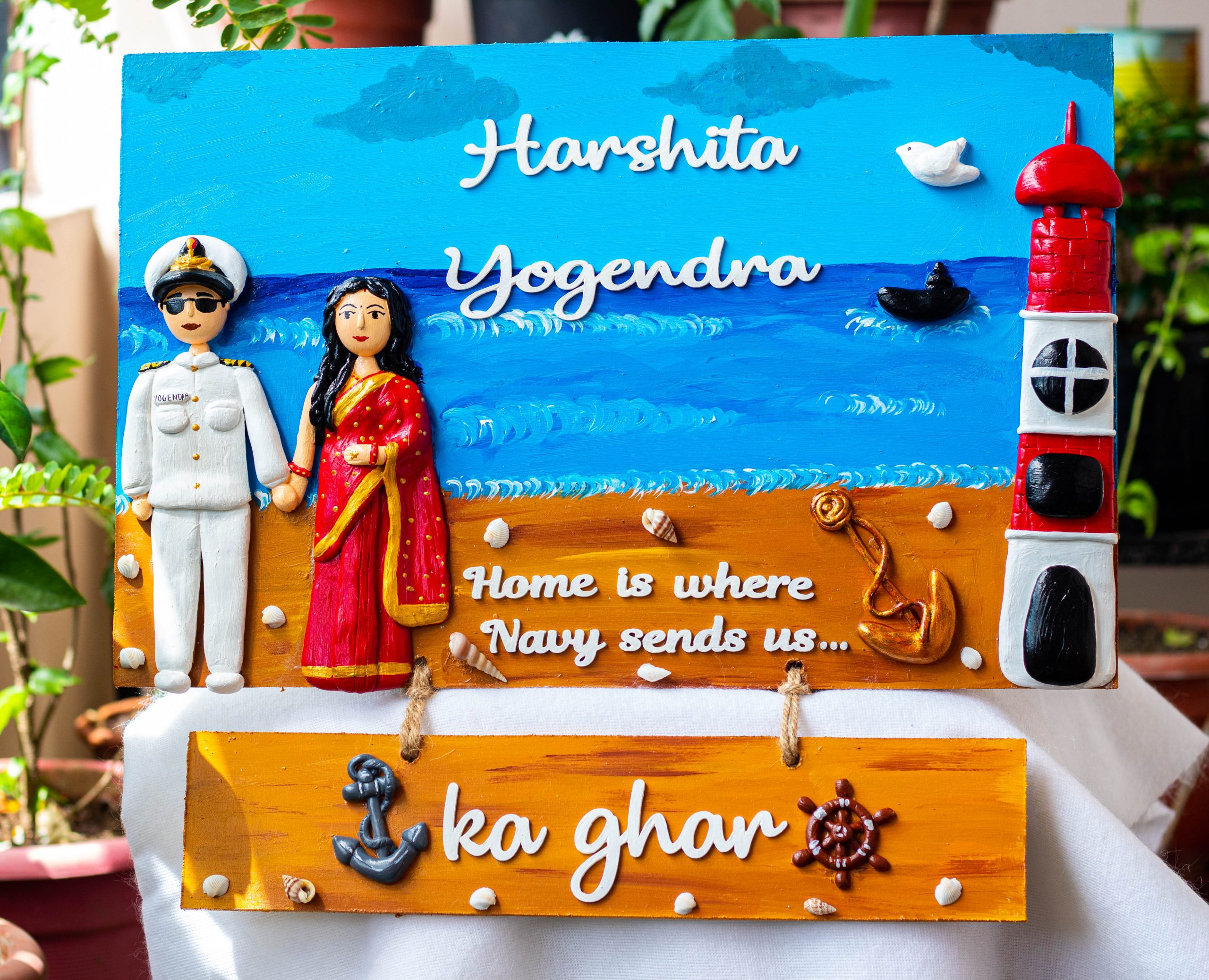 Indian Navy Themed Customized Family Nameplate