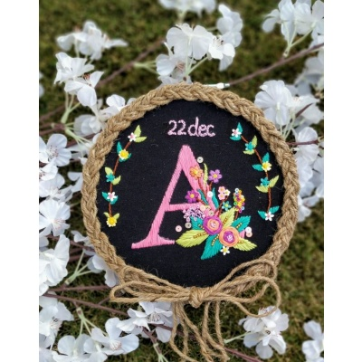 Hand Embroidered Initial Wall Hoop