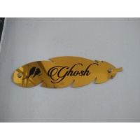 Leaf Design Golden Mirror Name Plate 2