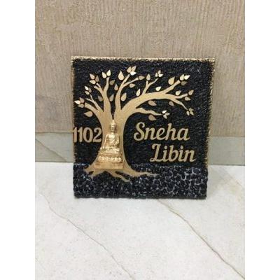 Buddha Tree square nameplate  Libin golden tree wooden nameplate