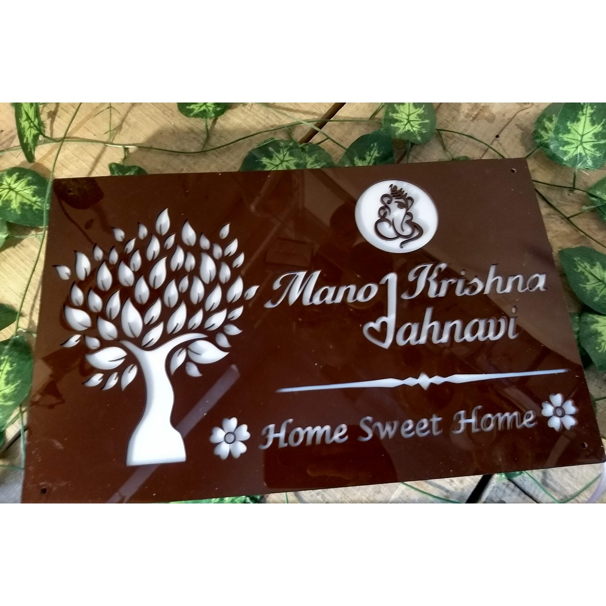 Light House Name Plate  Maroon Brown Sheet  Warm White Lights  Light House Name Plate  brown sheet  warm white lights 3