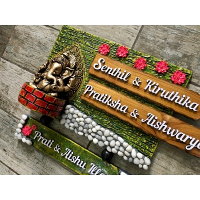 Lord Ganesha With Marbles Name Plate For House