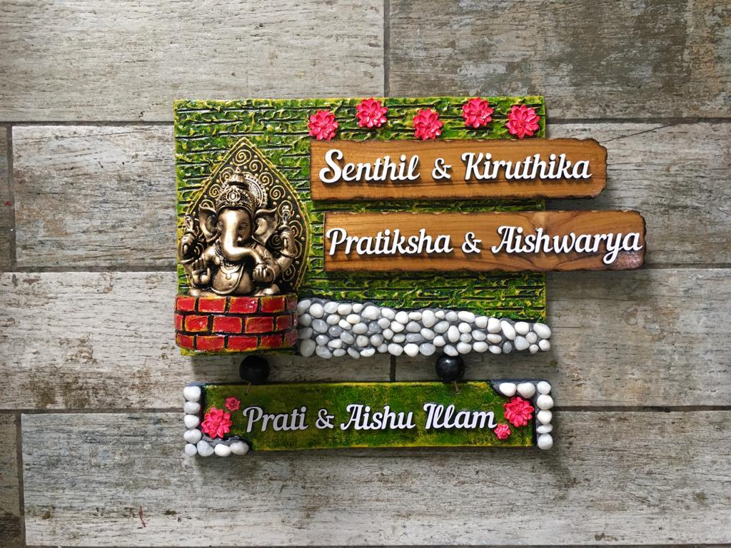 Lord Ganesha With Marbles Name Plate For House  LordGaneshaWithMarblesNamePlate