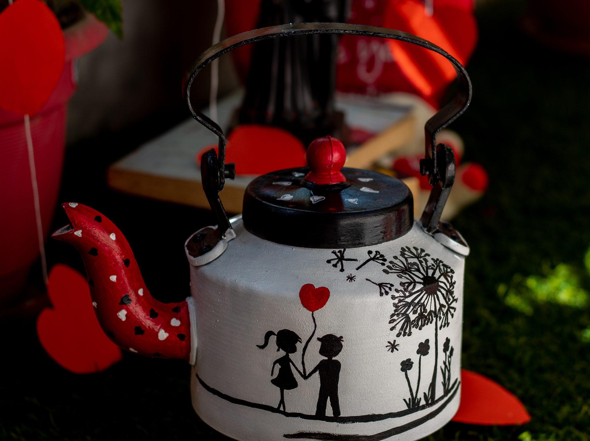 Creative Corner Love themed Hand painted decorative Kettle  Love themed Handpainted Kettle
