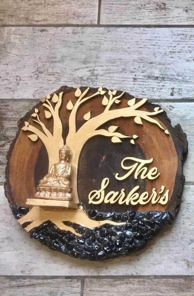 Meditating Lord Buddha Wooden Name Plate in 3D with Tree