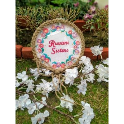 Hand Embroidered Name HoopName plate  wallhoop with name