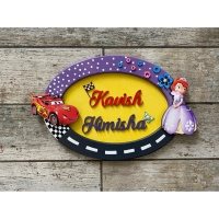 Oval Sofia  McQueen Sibling Kids Nameplate