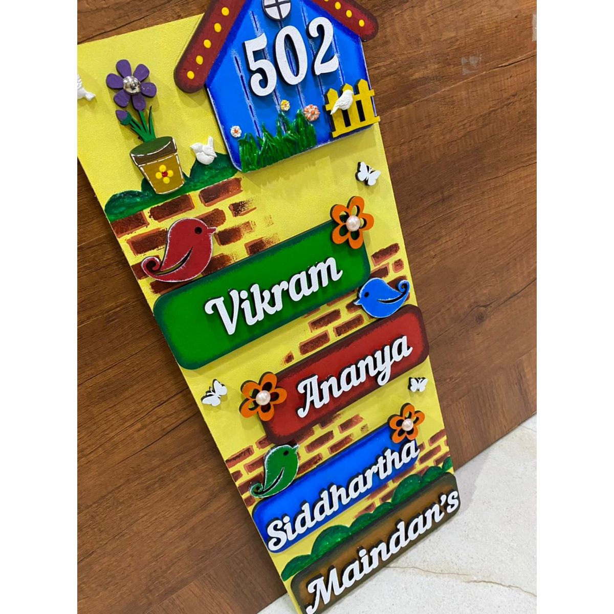 Handicraft Quirky Blue Hut nameplate Design For Home