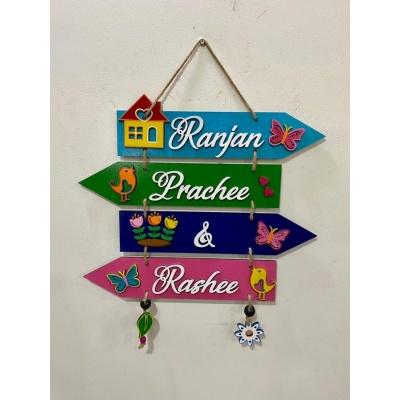 Rainbow Hues Wooden Nameplate  wooden nameplate