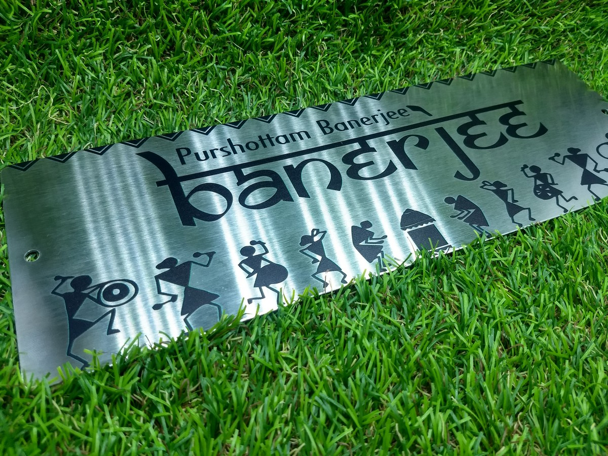 Stainless Steel House Name Plate With UV Printing  SS House Name Plate