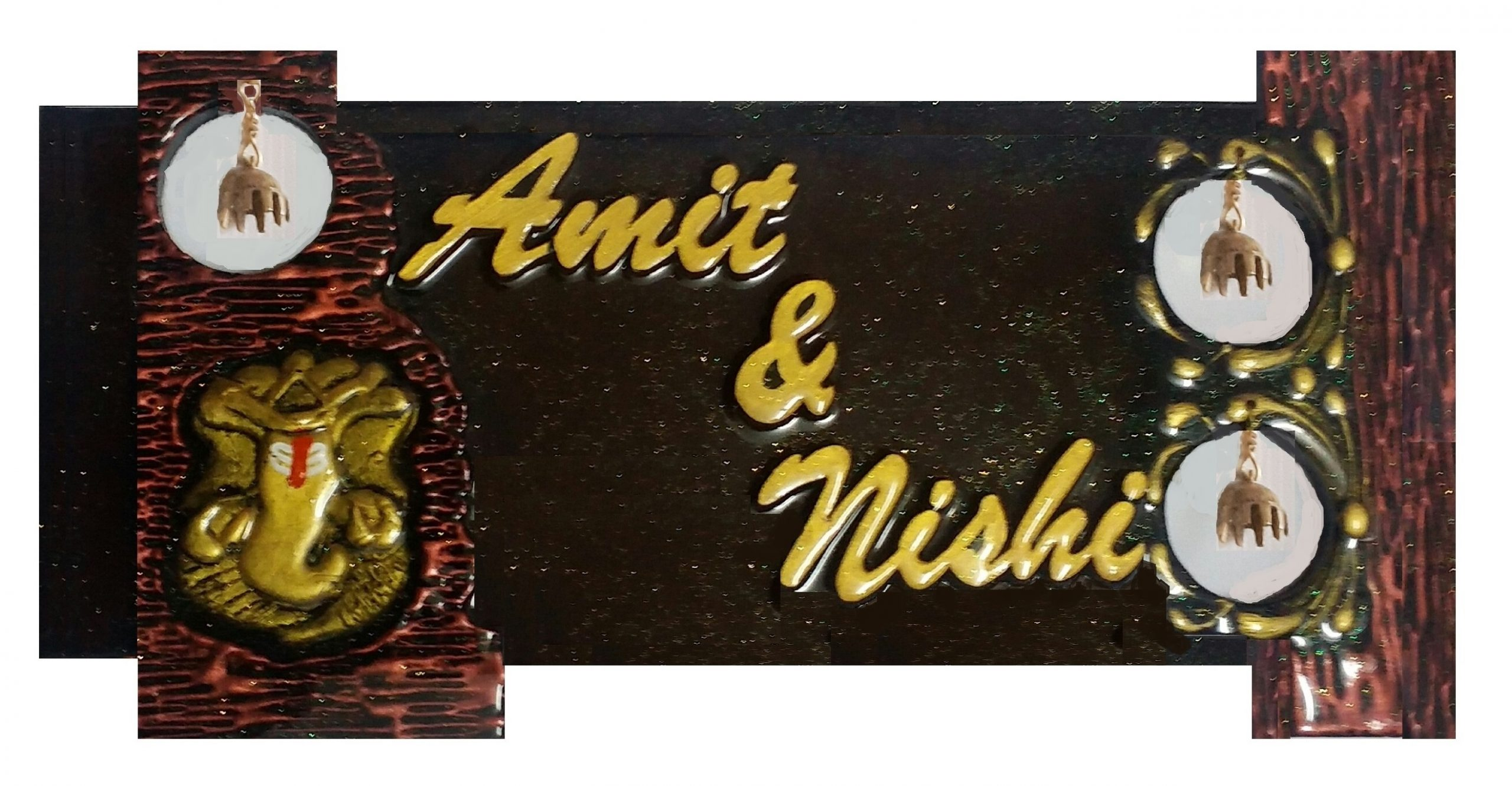 Customised Name Plate with Antique Ganesh and Bells  SSNPP 031A1 Antique Ganesh Bells 0816