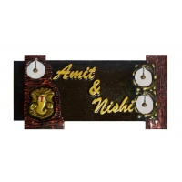 Sharada's Selections Customized Wooden Mural Type Name Plate, 'Antique Ganesh Ghungaroos