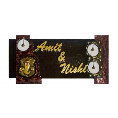 Customised Nameplate With Antique Ganesh and Ghungaroos  Sharadas Selections Customized Wooden Mural Type Name Plate Antique Ganesh Ghungaroos