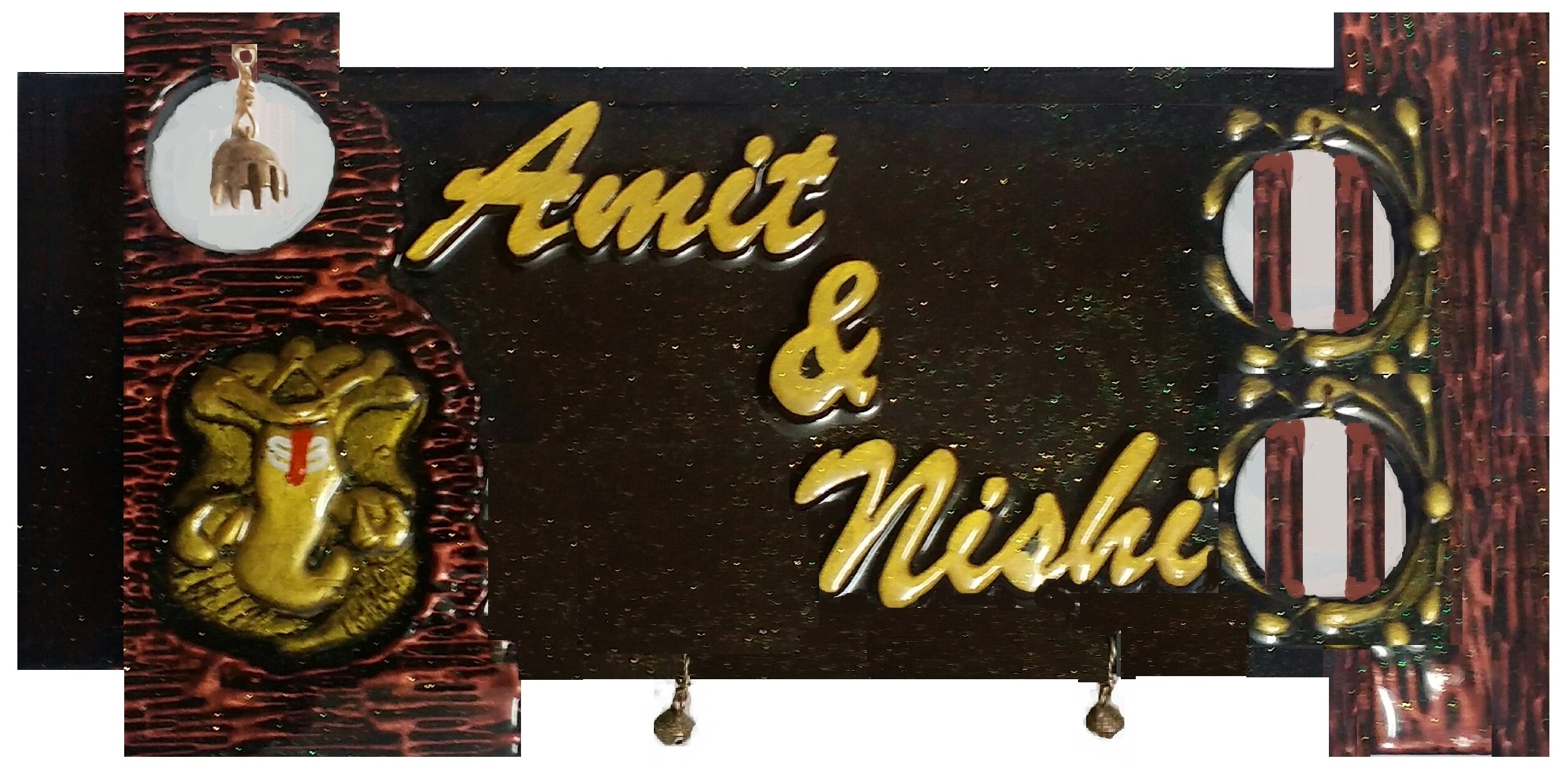 Customised Nameplate With Antique Ganesh Bell n Ghungroos  Antique Ganesh Bell n Ghungroos
