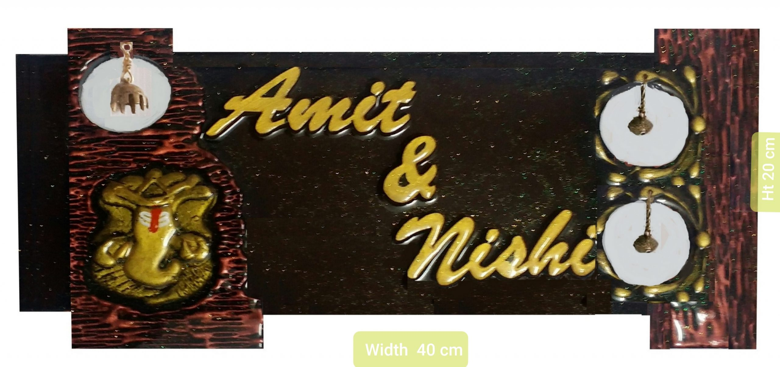 Customised Nameplate With Antique Ganesh Bell and Ghungroos  Sharadas Selections Customized Wooden Mural Type Name Plate Antique Ganesh Bells