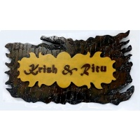 Sharada's Selections Customized Premium Basic Wooden 2 Layer Mural Type Name Plate