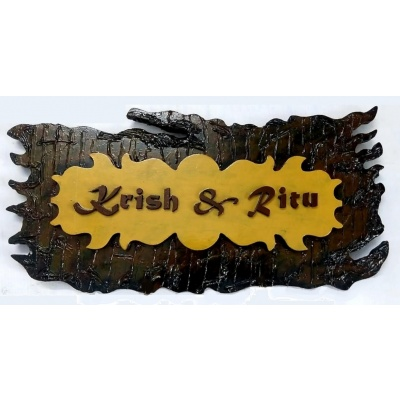 Customised Premium Basic Wooden 2 Layer Mural Type Name Plate  Sharadas Selections Customized Premium Basic Wooden 2 Layer Mural Type Name Plate