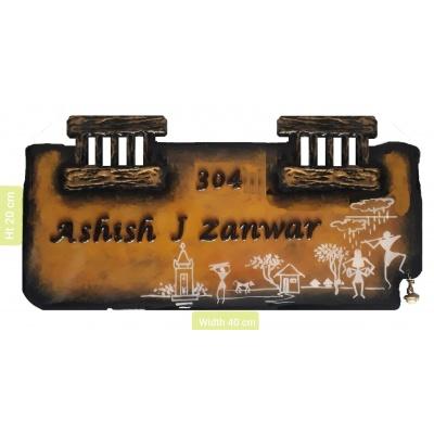 Customized Warli Double Window Wooden Nameplate  Customized Warli Single Window Wooden Nameplate