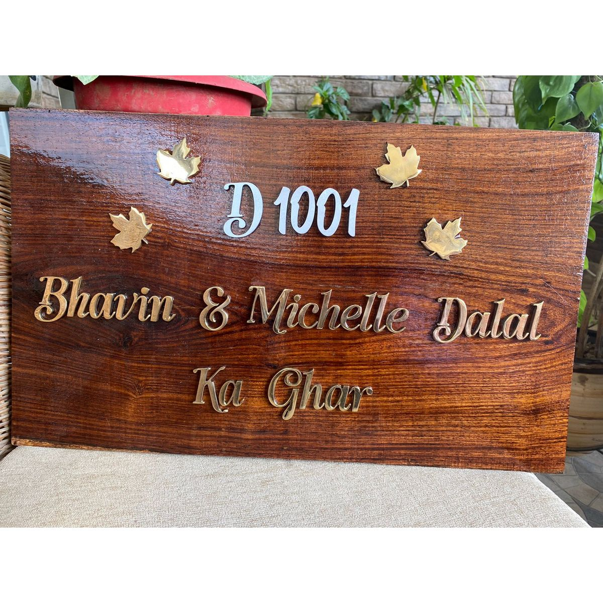 Sheesham Nameplate With MDF Number and Brass Letters