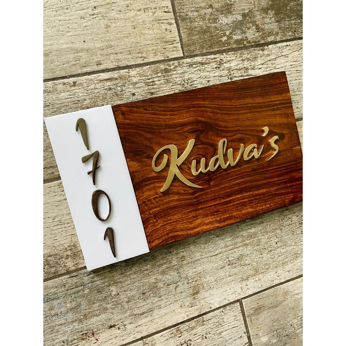 Sheesham Nameplate With Acrylic White Sheet and Brass Letters