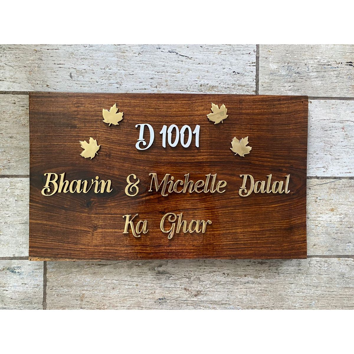 Sheesham Nameplate With MDF Number and Brass Letters  Sheesham Nameplate