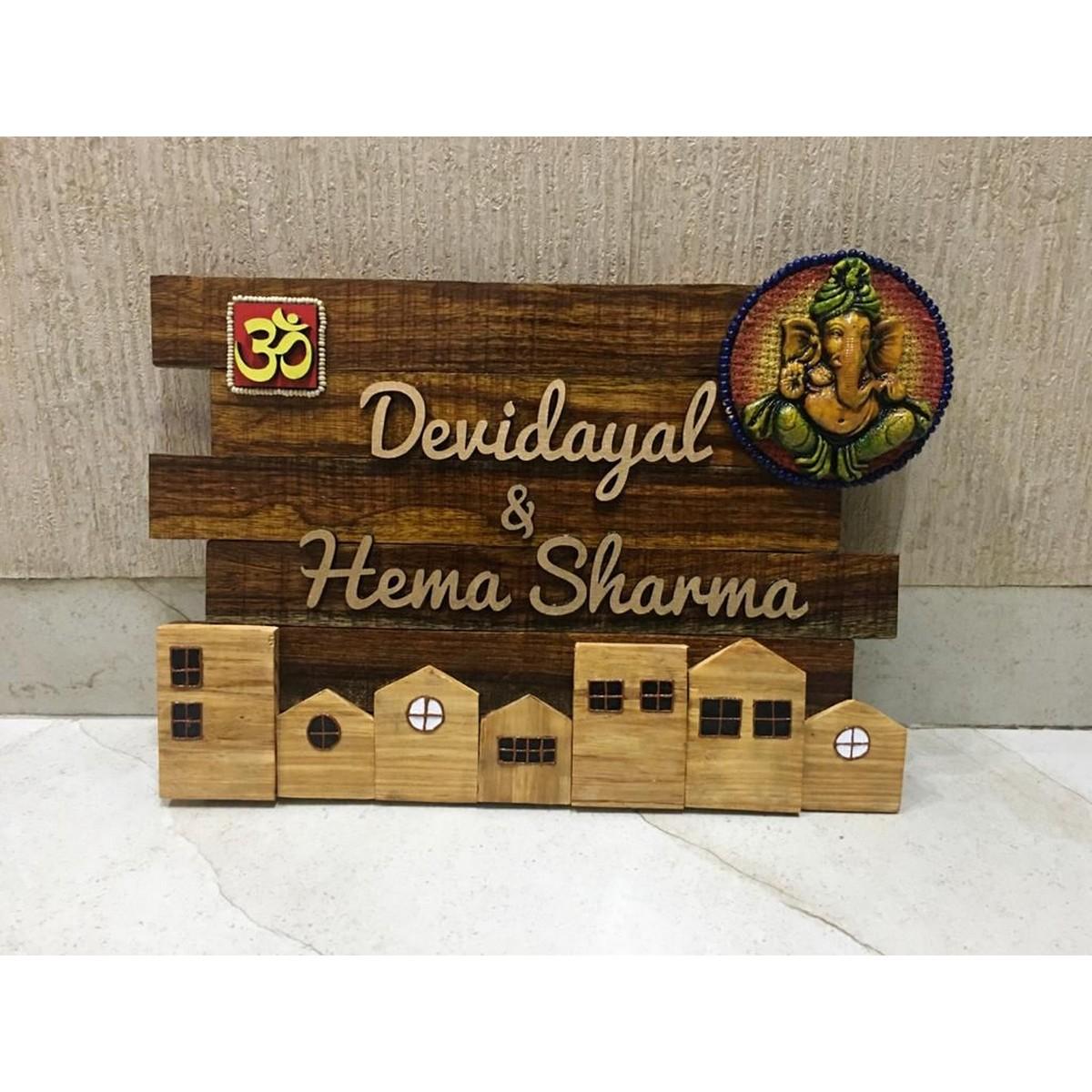 Sheesham Wood Ganesha Huts Nameplates