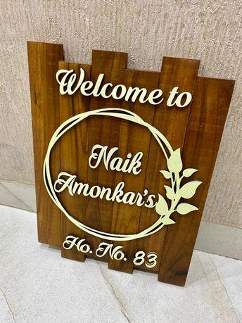 Sheesham Wood Vertical Nameplate  Sheesham wood vertical nameplate a