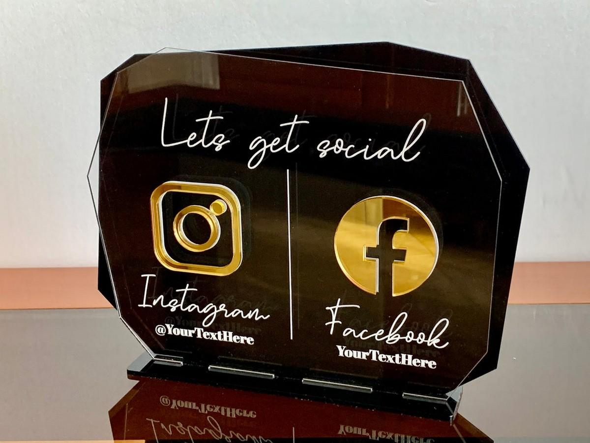 Social Media Acrylic Table Signs  Social Media Table Acrylic signs  2
