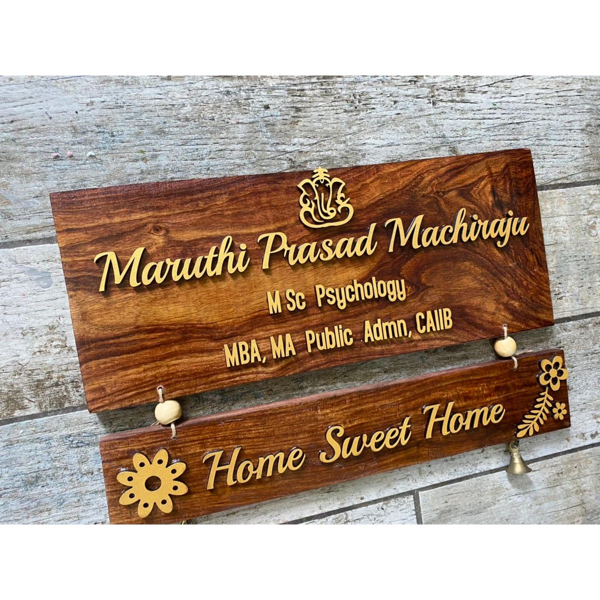 Two Tier Sheesham Wood Nameplate With Laser Cut Names  Two tier Sheesham wood nameplate with laser cut names