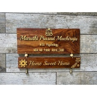 Two Tier Sheesham Wood Nameplate With Laser Cut Names  Sheesham wood nameplate with laser cut names