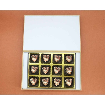 Photo Printed On Heart Choclates 12 Pcs  Valentaine Day 09HAPE