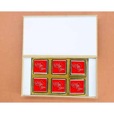 Wrappper Printed Chocolates For Miss You Gift 6pcs  Customized printed Chocolate
