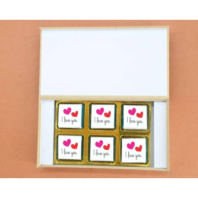Love You Gift For Valentine | Wrappper Printed Chocolates 6pcs  ValentaineDay12FNWPD