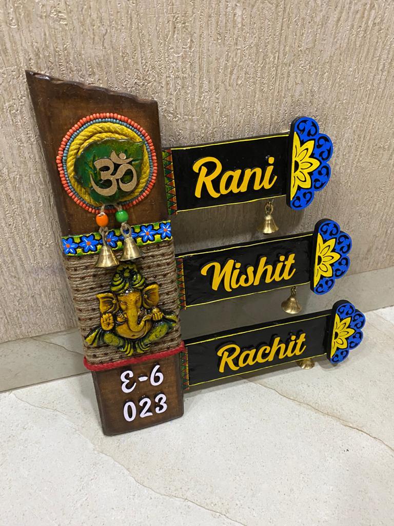 Ganesha Triple Plaque Vertical NamePlate  Vertical Ganesha Name PlateBoard in Natural Wood 2