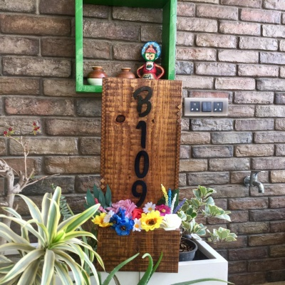 Designer Neem Wood Name Plate for Bungalow Garden  Vertical Pot Shaped Name Plate for Garden Lovers
