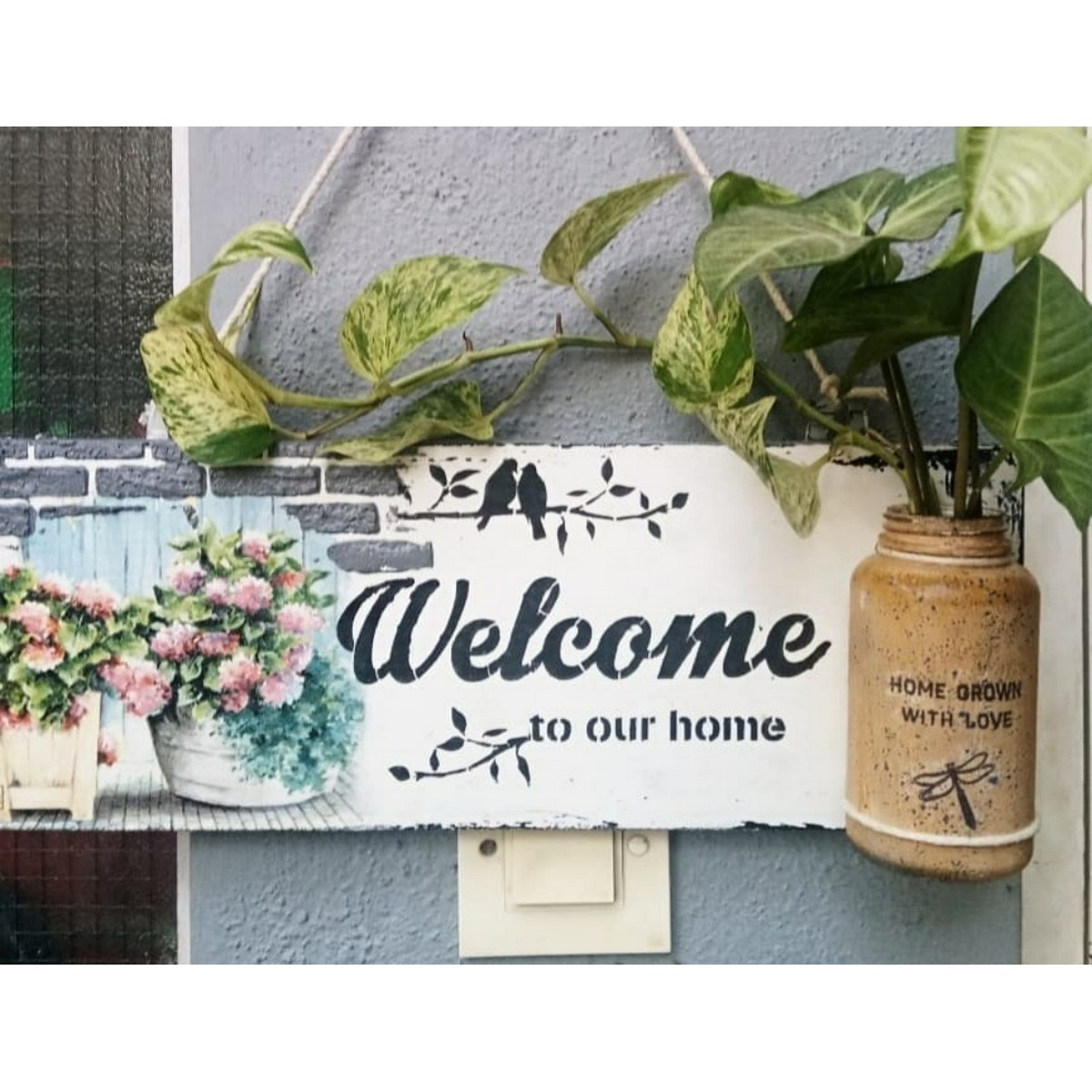 Welcome Sign with Plant Pot