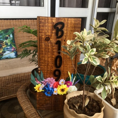 Designer Neem Wood Name Plate for Bungalow Garden  Wooden Name Plate for Gardens or Balcony