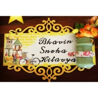 Wooden Nameplate With Flower Pot