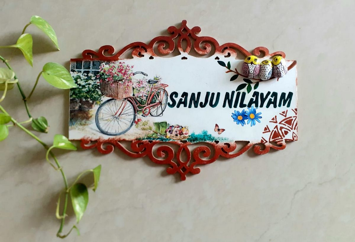 Decorated Wooden Nameplate With Bicycle  Owl  decorated wooden nameplate