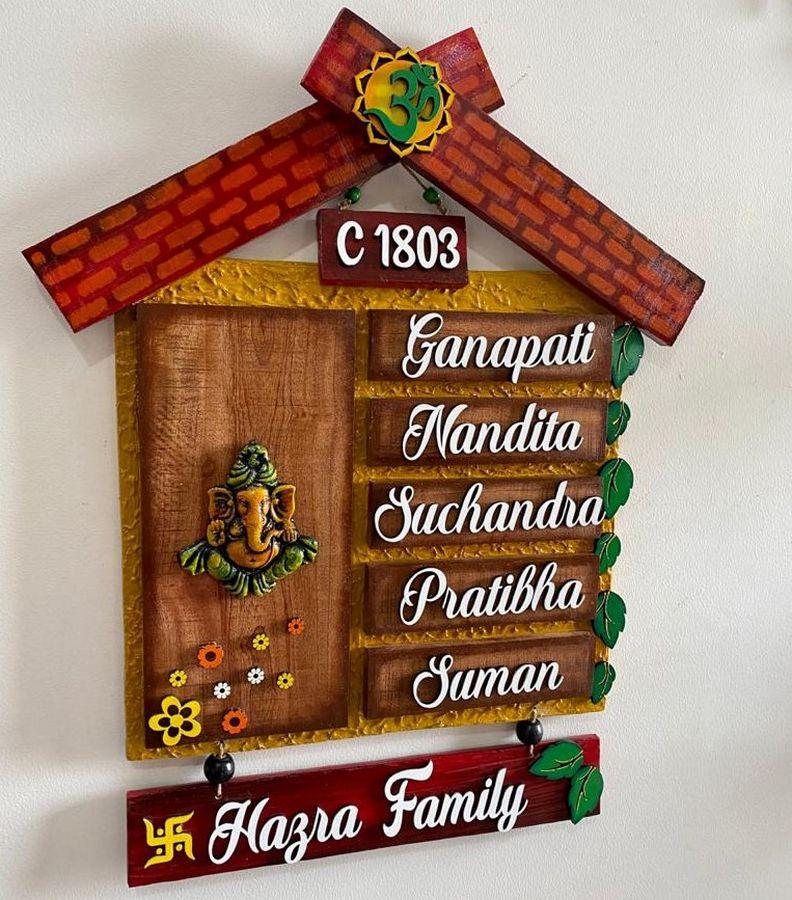 Ganesha Hut Wooden house name plates