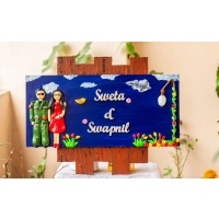 Handcrafted customized Indian Airforce themed couple nameplate