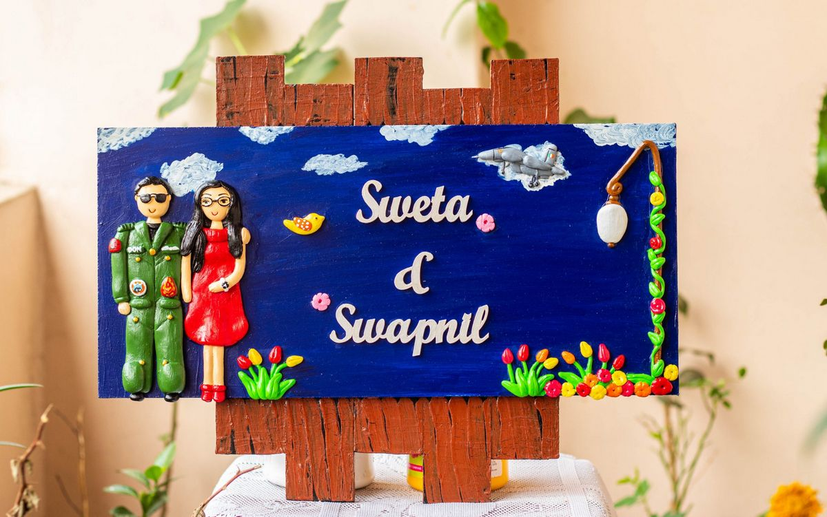 Handcrafted Customized Indian Airforce Couple Nameplate  Handcrafted customized Indian Airforce themed couple nameplate