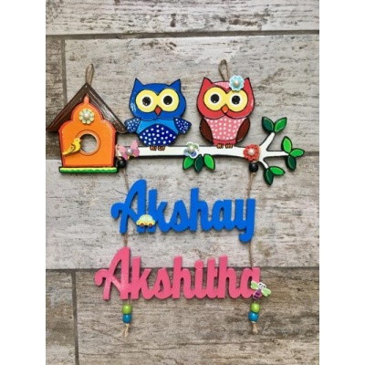 Kids Twin Owl Nameplate  akshay kids nameplate