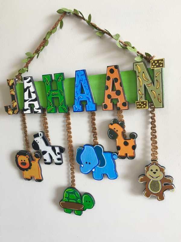 Animal Theme Kids Name plate  baby kids room name plate bangalore mumbai delhi 002