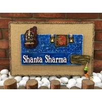 Om and Ganesha Wooden Name Plate  handmade wooden nameplate online