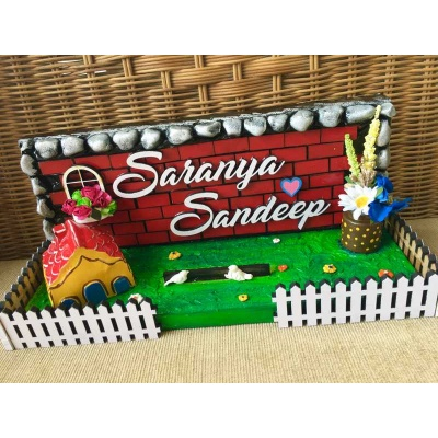 Little Garden Wooden nameplate for FlatHome  buy unique name plate for home online 002