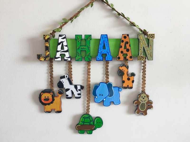 Animal Theme Kids Name plate  children name plate for kids bangalore mumbai delhi 001