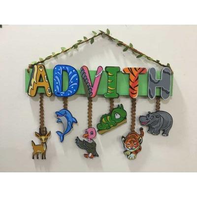 Jungle Theme Kids Name plate for Children  children name plate for kids bangalore mumbai delhi 002